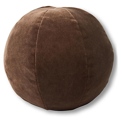 Emma 11x11 Ball Pillow, Café Velvet