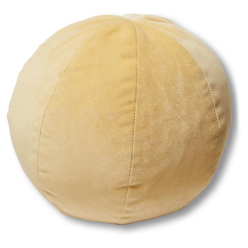 Emma 11x11 Ball Pillow, Canary Velvet