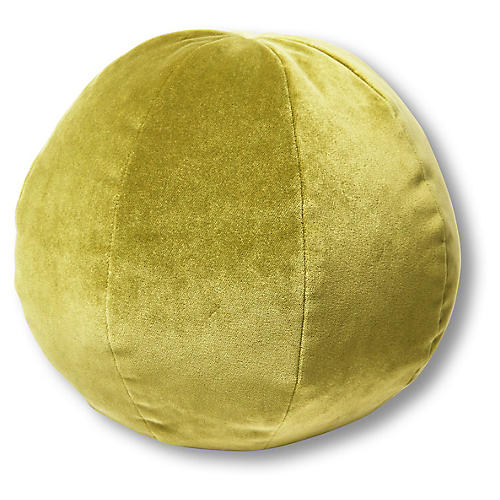 Emma 11x11 Ball Pillow, Chartreuse Velvet