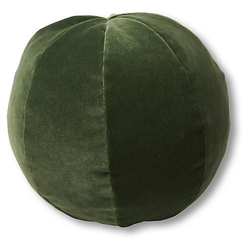 Emma 11x11 Ball Pillow, Emerald Velvet