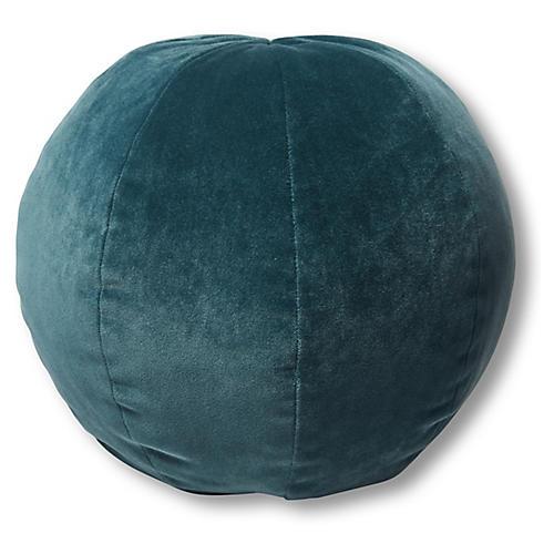 Emma 11x11 Ball Pillow, Teal Velvet