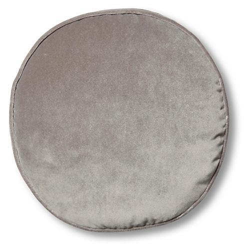 Claire 16x16 Disc Pillow, Light Gray Velvet