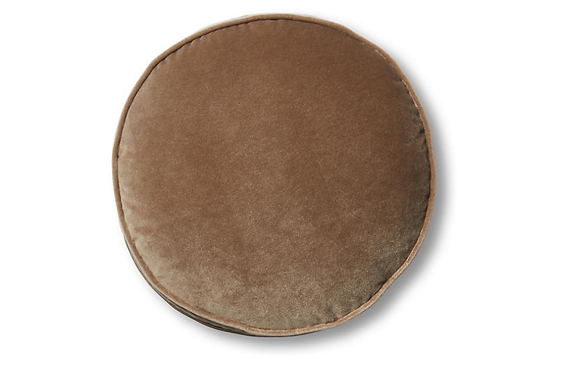 Claire 16x16 Disc Pillow, Toffee Velvet
