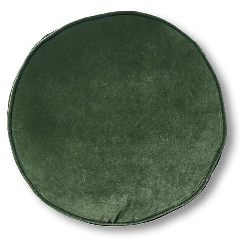 Claire 16x16 Disc Pillow, Emerald Velvet