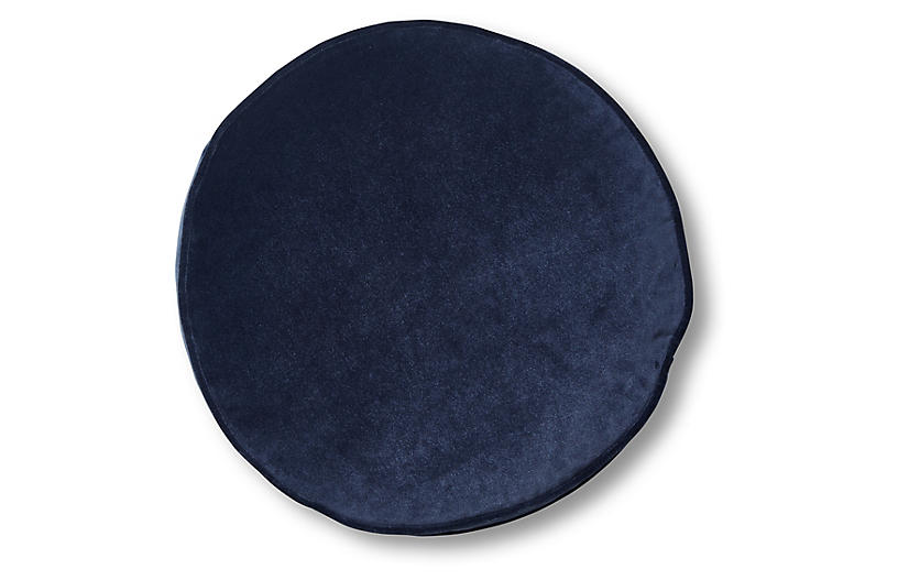 Claire 16x16 Disc Pillow, Navy Velvet