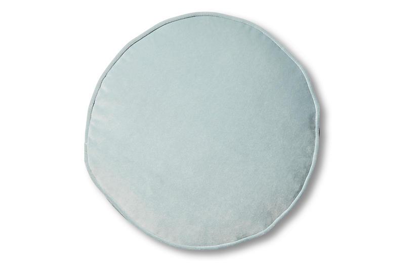 Claire 16x16 Disc Pillow, Sky Blue Velvet
