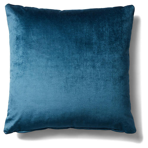 Hazel Pillow, Prussian Blue Velvet