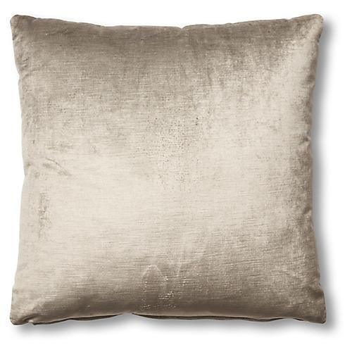 Hazel Pillow, Silver-Gray Velvet