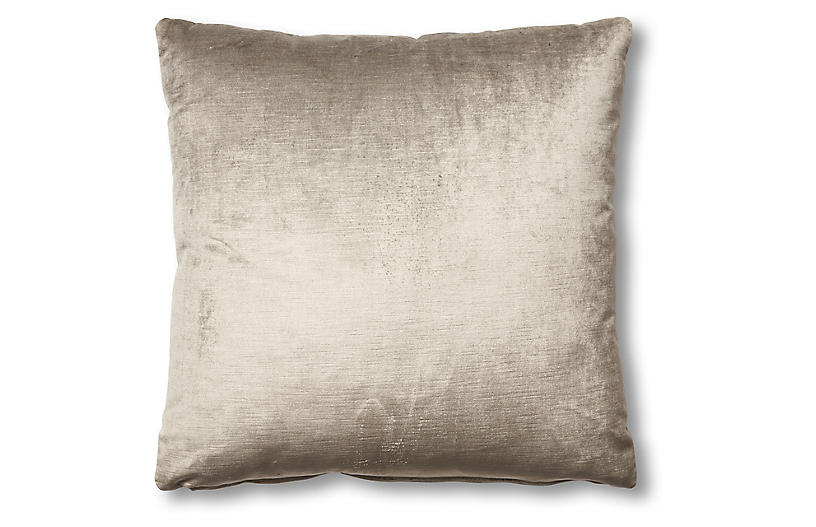 Hazel Pillow, Silver-Gray Velvet