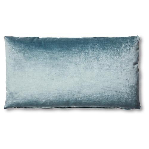 Ada Long Lumbar Pillow, Denim Blue Velvet