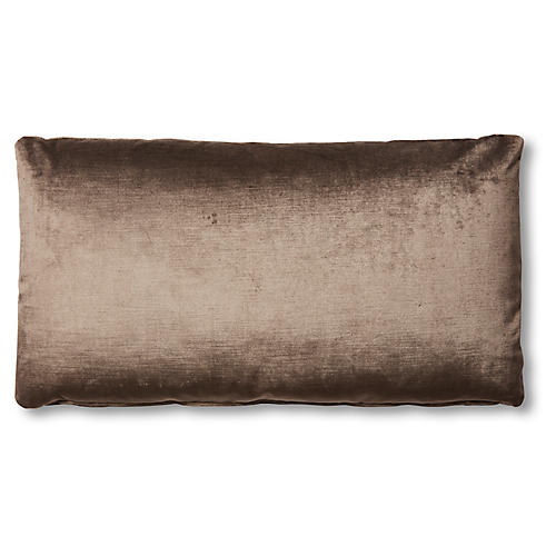Ada Long Lumbar Pillow, Sky Gray Velvet