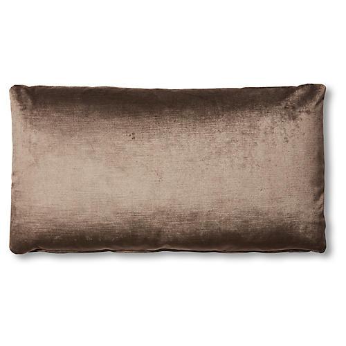 Ada Long Lumbar Pillow, Sky Gray Velvet