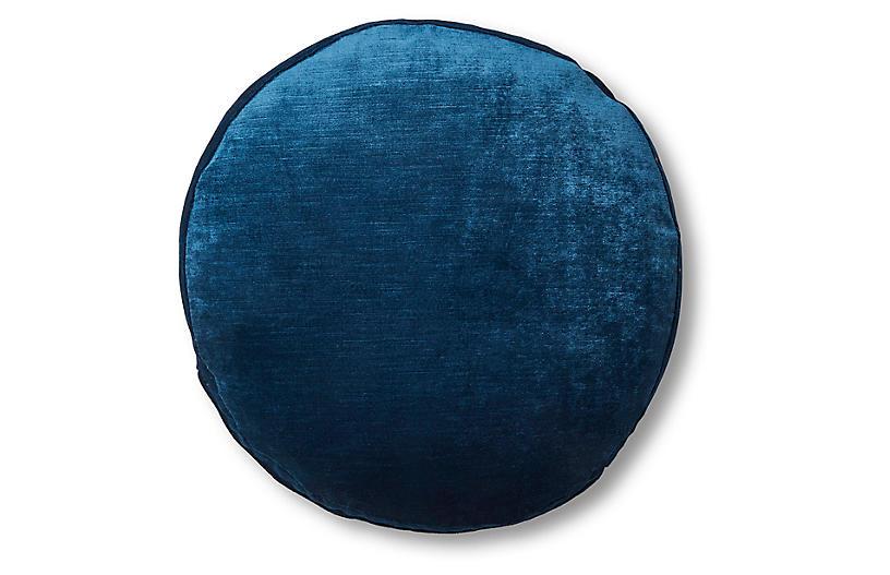 Claire 16x16 Disc Pillow, Prussian Blue Velvet