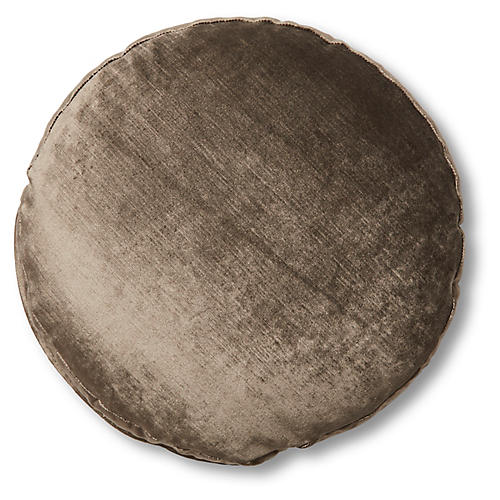 Claire 16x16 Disc Pillow, Sky Gray Velvet