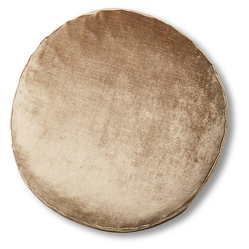Claire 16x16 Disc Pillow, Putty Velvet