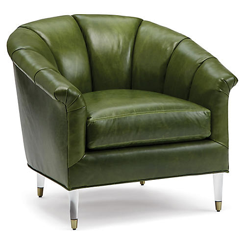 Warren Accent Chair, Evergreen Leather