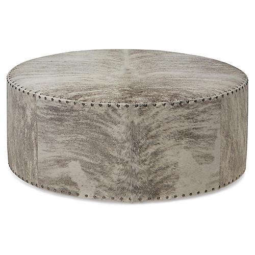 Callisto Ottoman, Gray/Ivory Brindle Leather
