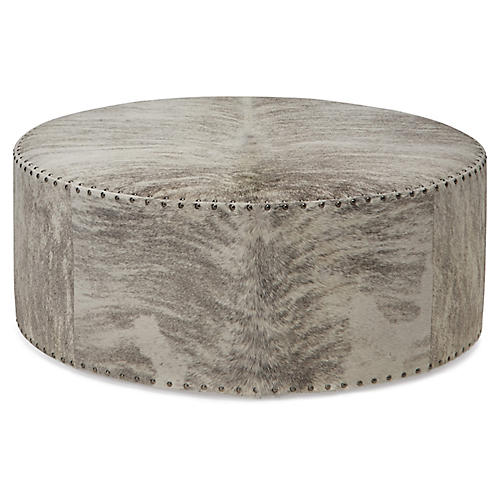 Callisto Ottoman, Gray/Ivory Brindle Leather