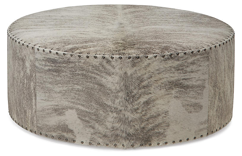Awesome Callisto Ottoman Gray Ivory Brindle Leather Bralicious Painted Fabric Chair Ideas Braliciousco