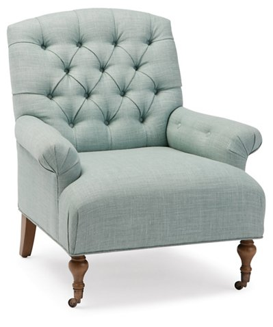 One Kings Lane Harrison Tufted Accent Chair Mint Linen One Kings Lane