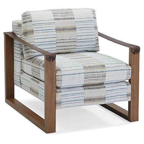 Mitchell Accent Chair, Denim/Gray