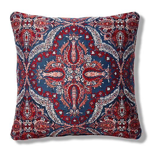 Amelia 19x19 Pillow, Red/Indigo