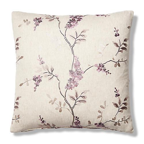 Olinda 19x19 Pillow, Lilac/Cream