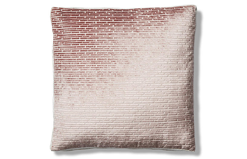 Hannah 19x19 Box Pillow, Blush/Cream Velvet