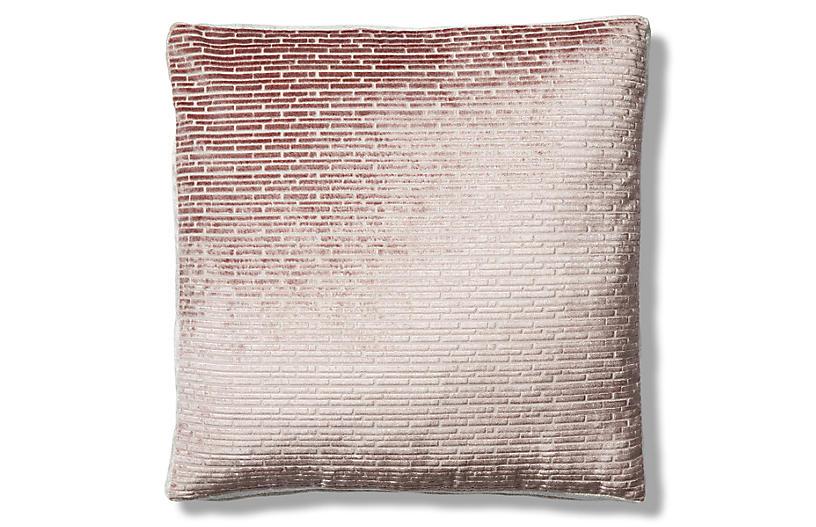 Hannah 19x19 Box Pillow, Blush/Cream Velvet