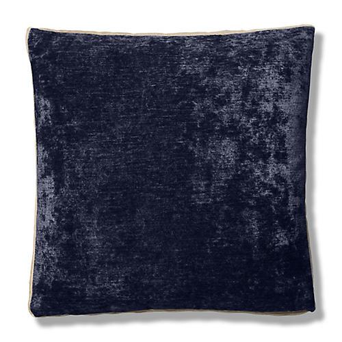 Hannah 22x22 Box Pillow, Navy/Cream Velvet