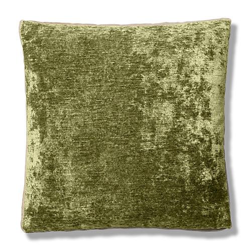 Hannah 22x22 Box Pillow, Green/Cream Velvet