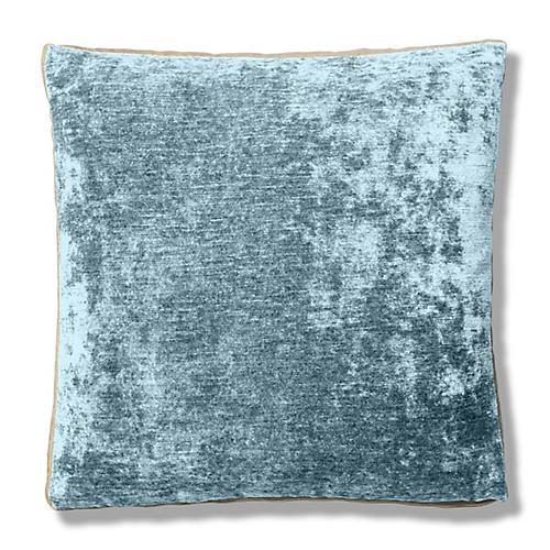 Hannah 22x22 Box Pillow, Mineral/Cream Velvet
