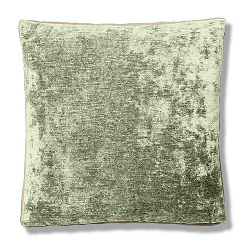 Hannah 22x22 Box Pillow, Herb/Cream Velvet