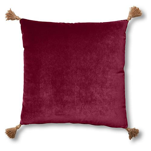 Lou 19x19 Pillow, Currant Velvet