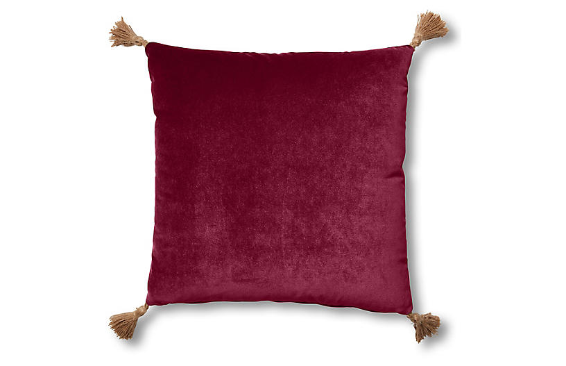 Lou 19x19 Pillow, Currant Velvet