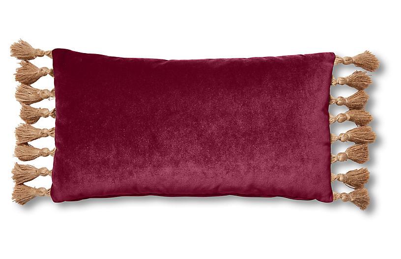 Lou 12x23 Lumbar Pillow, Currant Velvet