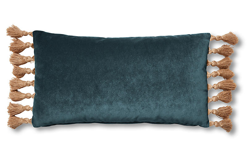 Lou 12x23 Lumbar Pillow, Teal Velvet