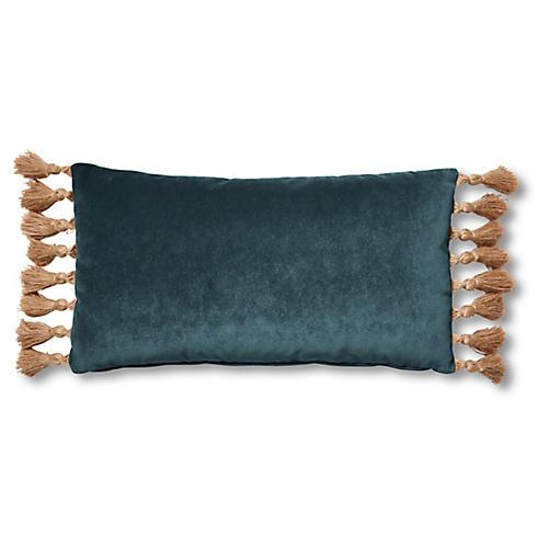 Lou 12x23 Lumbar Pillow, Teal Velvet