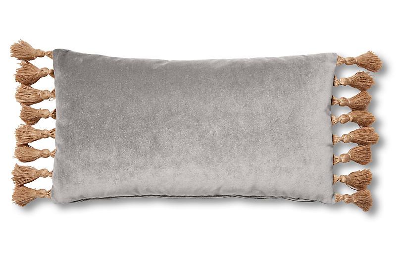 Lou 12x23 Lumbar Pillow, Light Gray Velvet