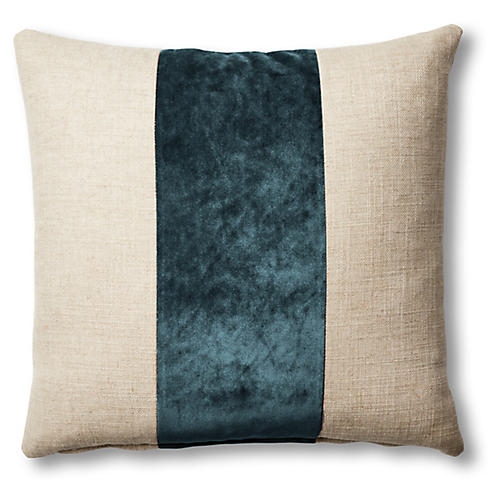 Blakely 19x19 Pillow, Natural/Teal