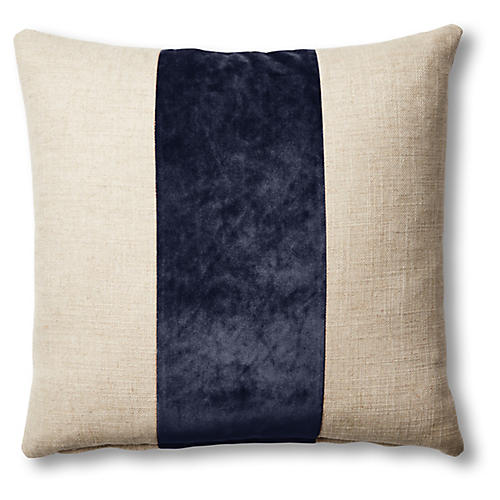 Blakely 19x19 Pillow, Natural/Navy