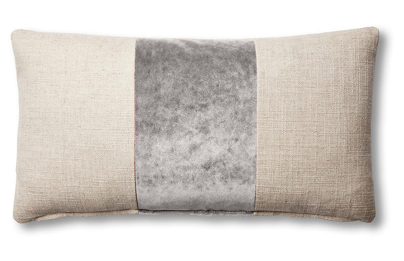 Blakely 12x23 Lumbar Pillow, Natural/Light Gray
