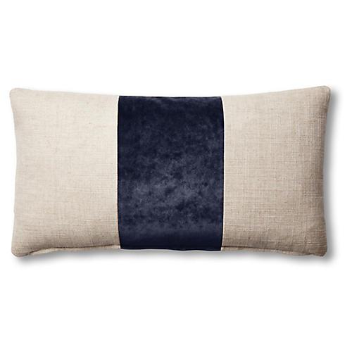 Blakely 12x23 Lumbar Pillow, Natural/Navy