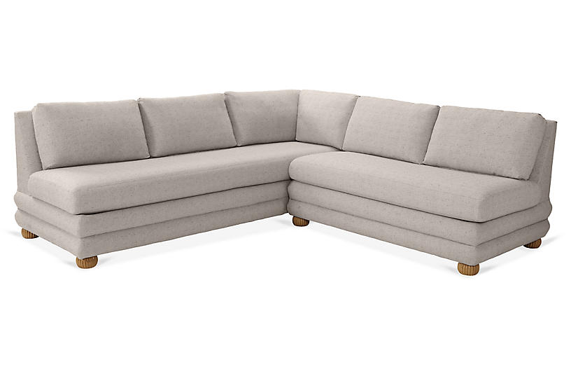 Millbrae Right-Facing Sectional, Stone Linen
