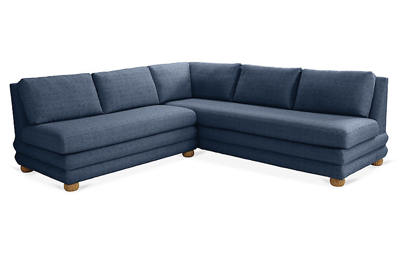 Millbrae Left-Facing Sectional, Navy Linen