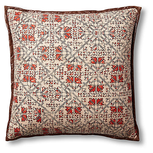 Dana 19x19 Pillow, Orange/Beige