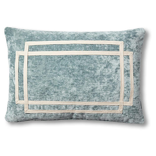 Sam 15x23 Lumbar Pillow, Blue Velvet