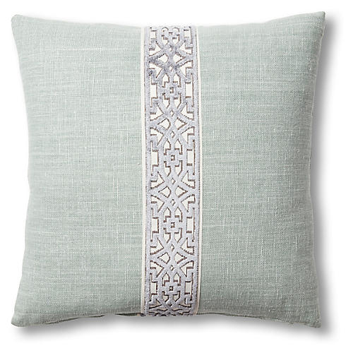 Kyra 19x19 Pillow, Blue/Rust