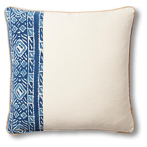Lola 19x19 Pillow, Beige/Blue