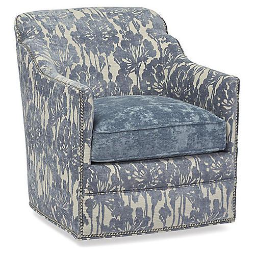 Hughes Swivel Chair, Orchid Velvet